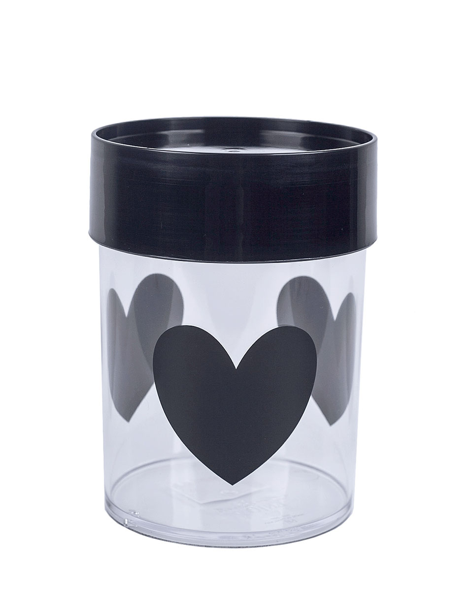 MISS ETOILE Canister Medium BIG BLACK HEARTS  BLACK LID MEDIUM