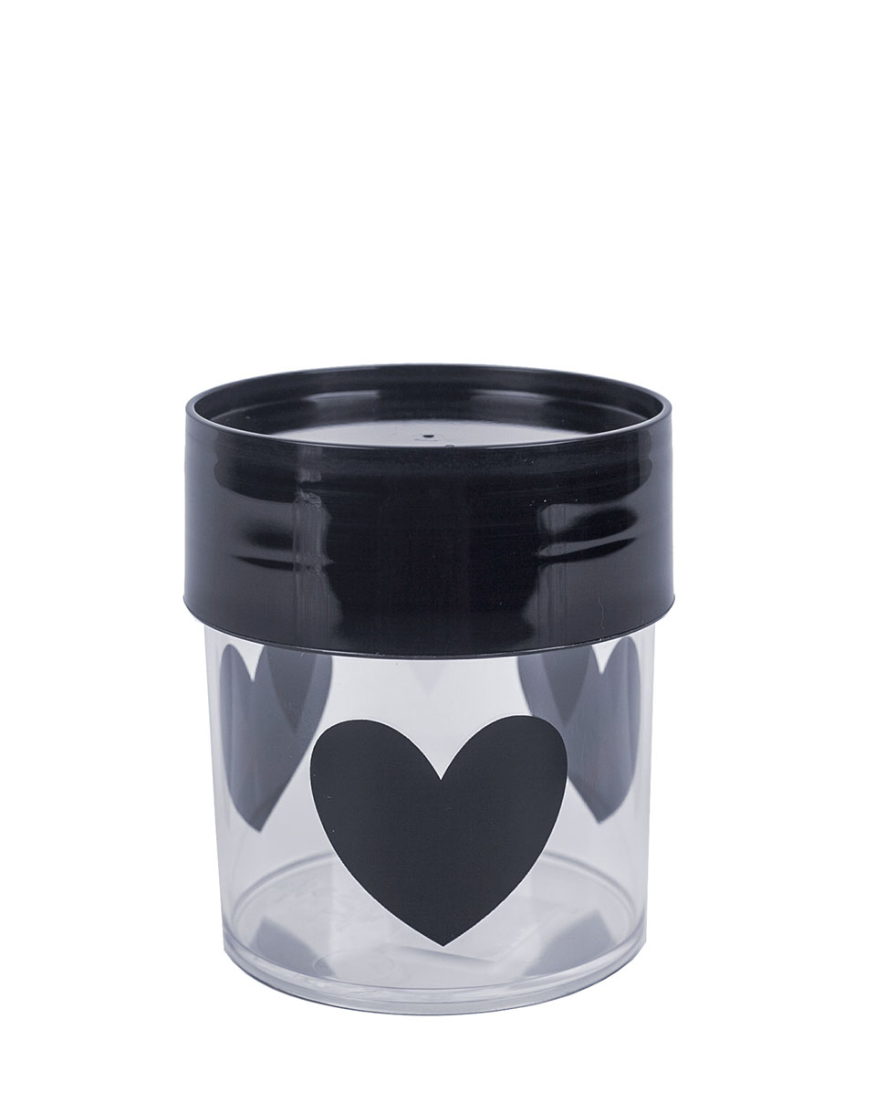 MISS ETOILE Canister Big BLACK HEARTS  BLACK LID SMALL