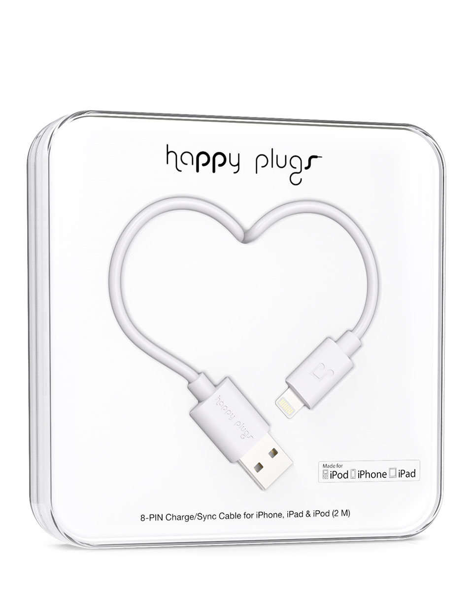 Happy Plugs Lightning to USB Charge/Sync Cable(2.0m) white