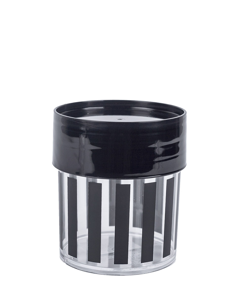 MISS ETOILE Canister Small BLACK STRIPES  BLACK LID