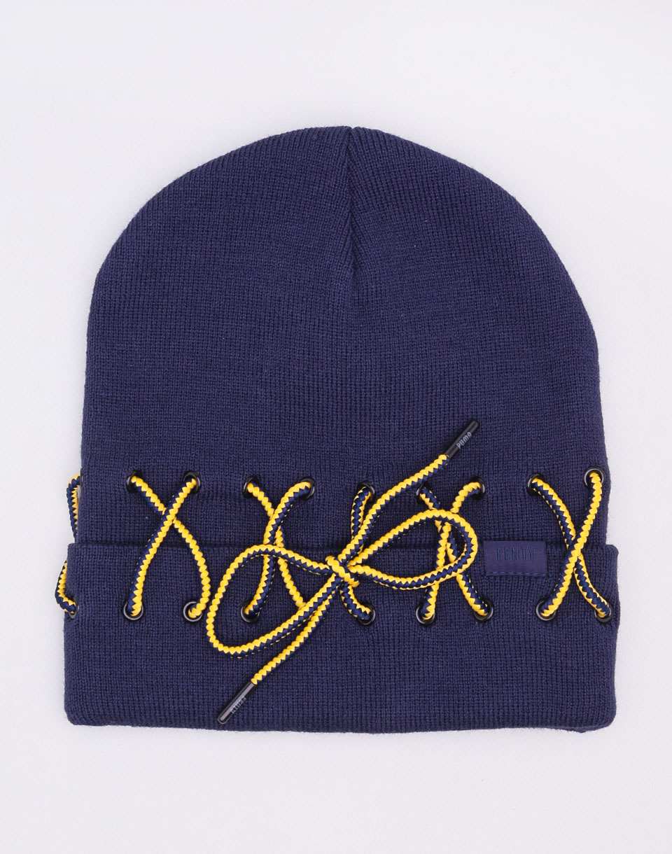 Puma Fenty Laced Beanie Evening Blue   Lemon