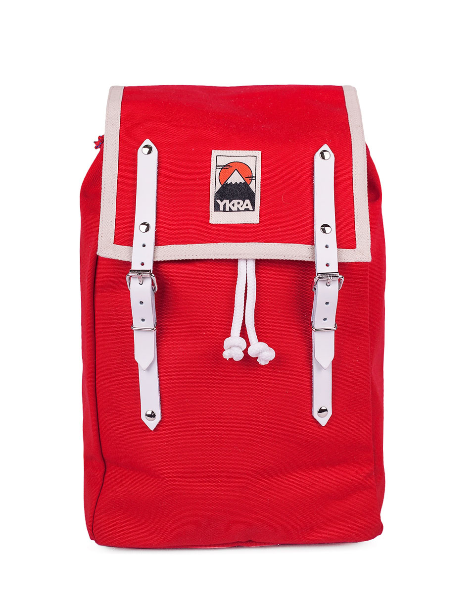 Batoh YKRA Matra Mini White Leather Straps Red + doprava zdarma