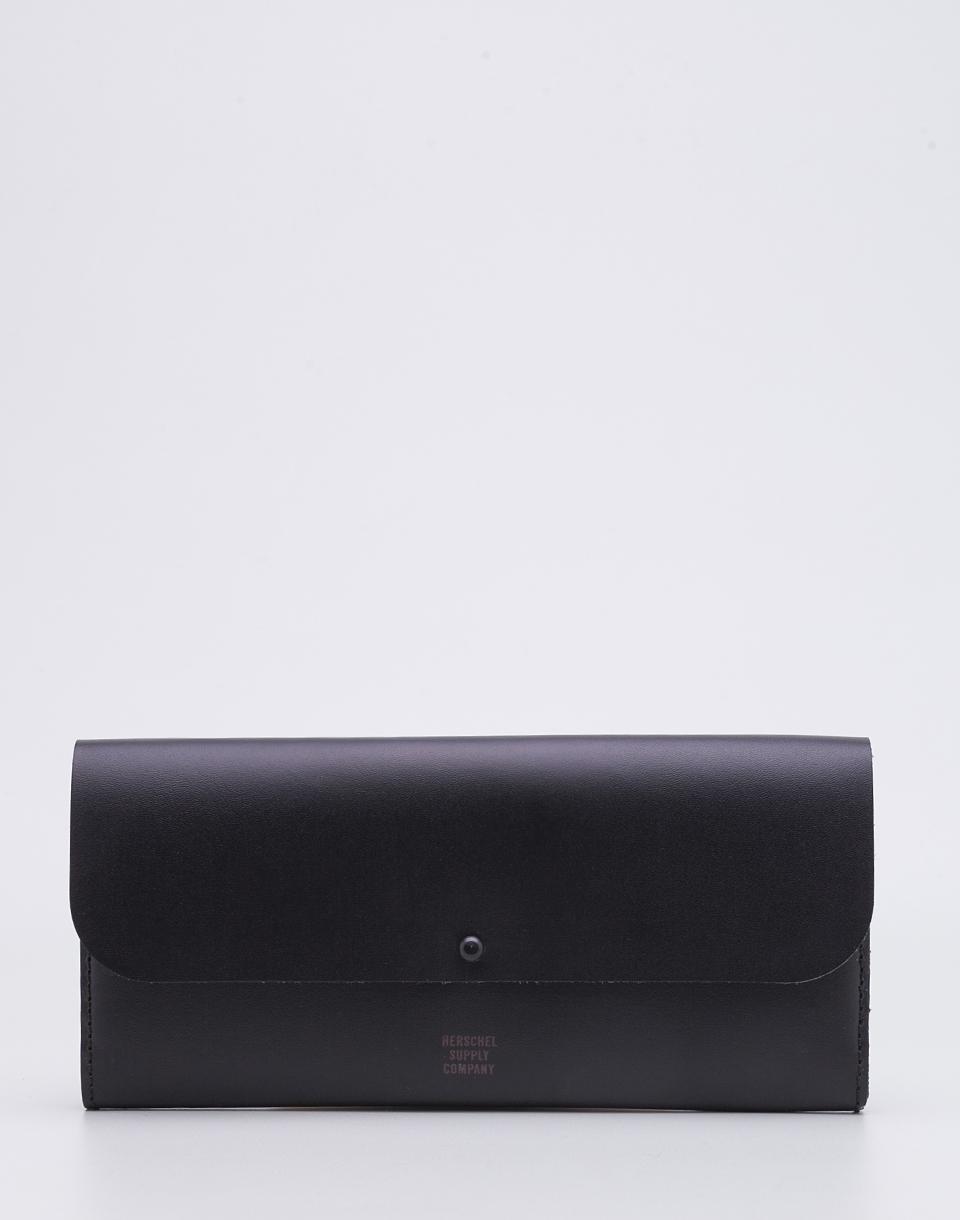 Peněženka Herschel Supply Distance Black Leather/Black + doprava zdarma