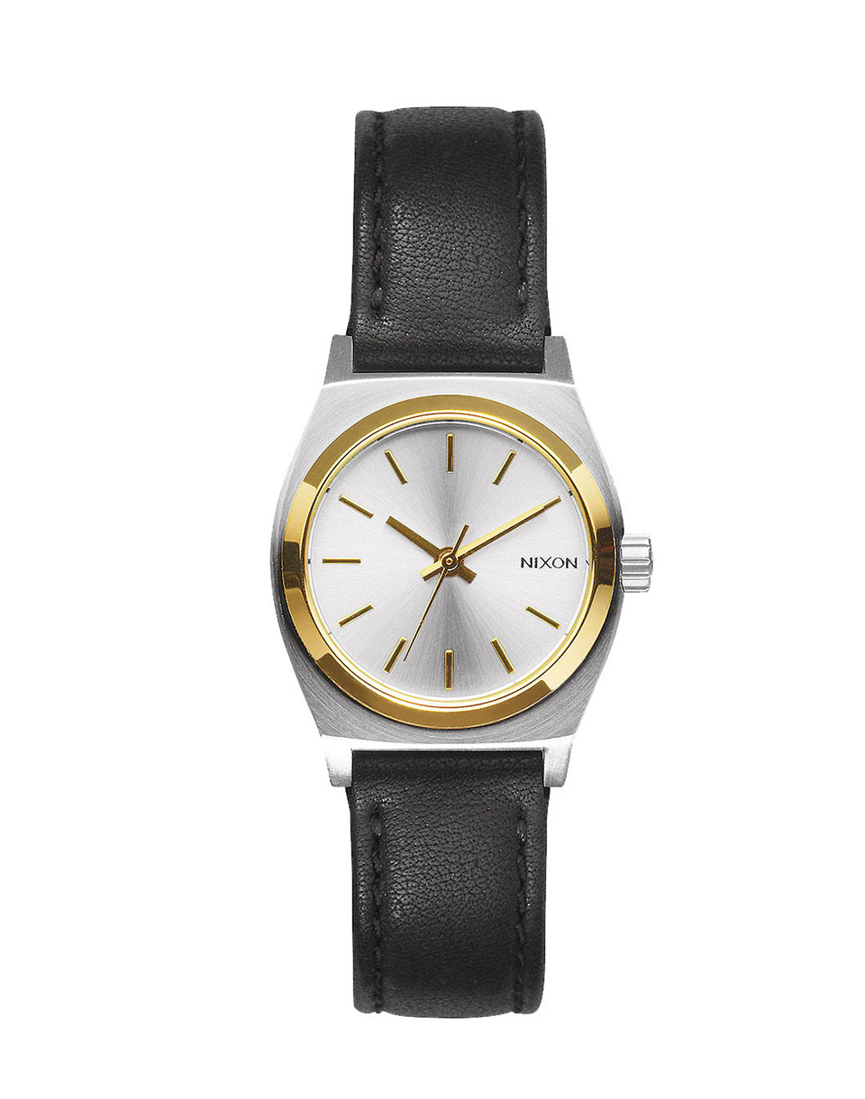 Hodinky Nixon Small Time Teller Leather silver gold black