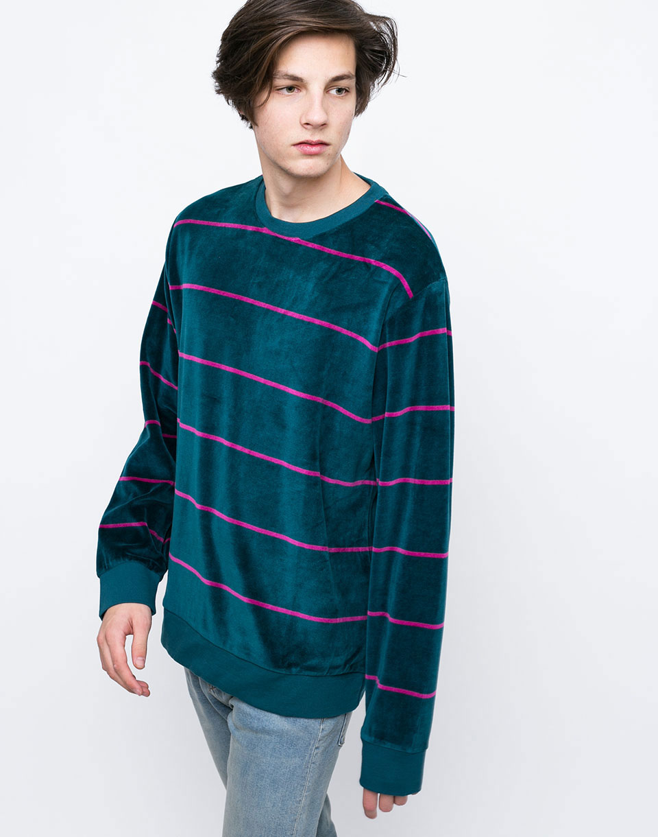 Stussy Striped Velour dark teal L