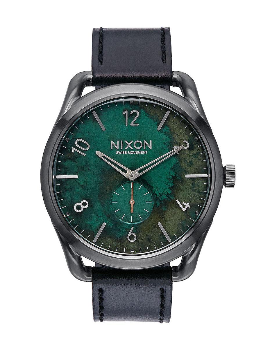 Hodinky Nixon C45 Leather Gun Metal Green Oxyde + doprava zdarma