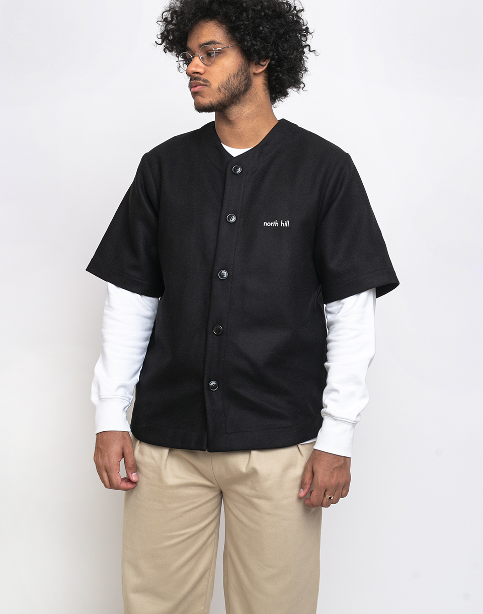 North Hill Wool Baseball Jersey Black XL