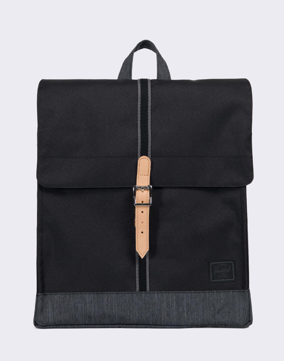 Herschel Supply Offset City Mid Volume Black Black Denim