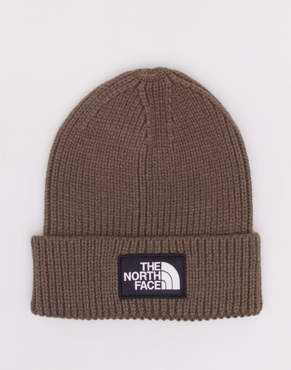 The North Face TNF Logo Box Cuff Beanie New Taupe Green