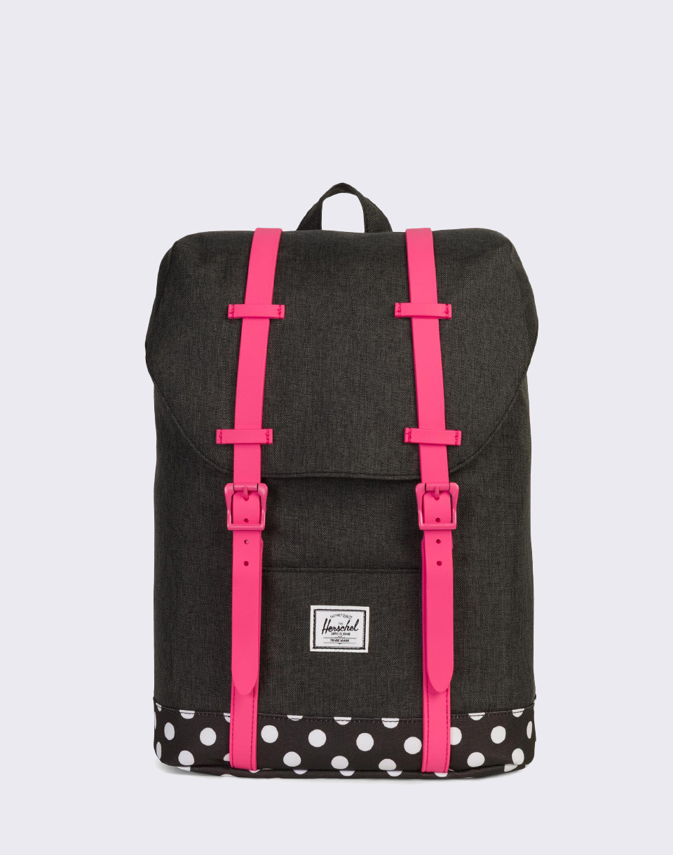 Herschel Supply Retreat Youth Black Crosshatch Polka Dot Fandango Pink