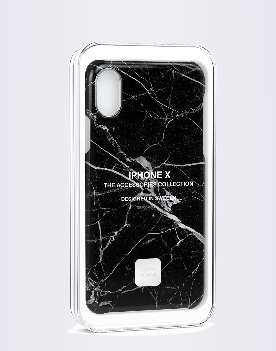 Na telefon Happy Plugs iPhone X Slim Case Black Marble