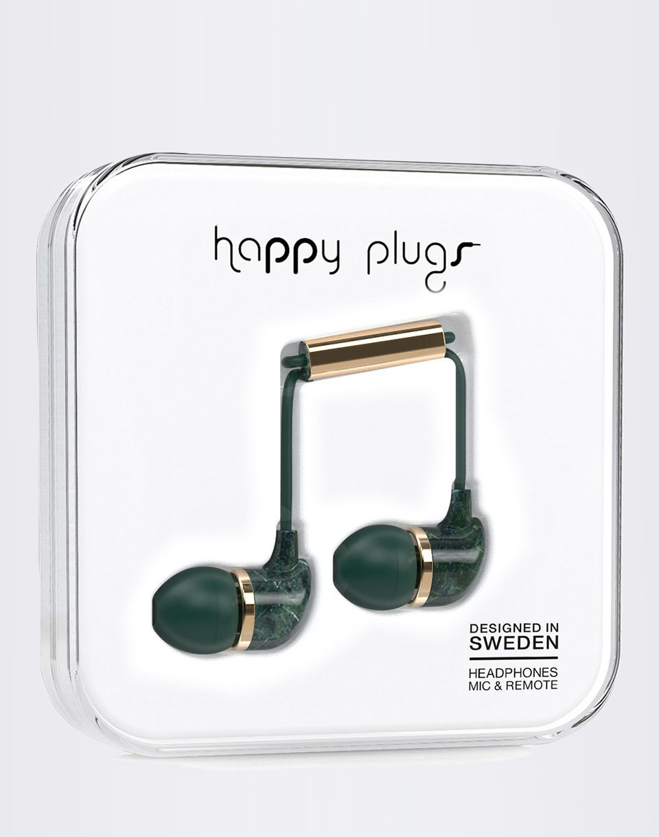 Sluchátka Happy Plugs In-Ear Green Marble