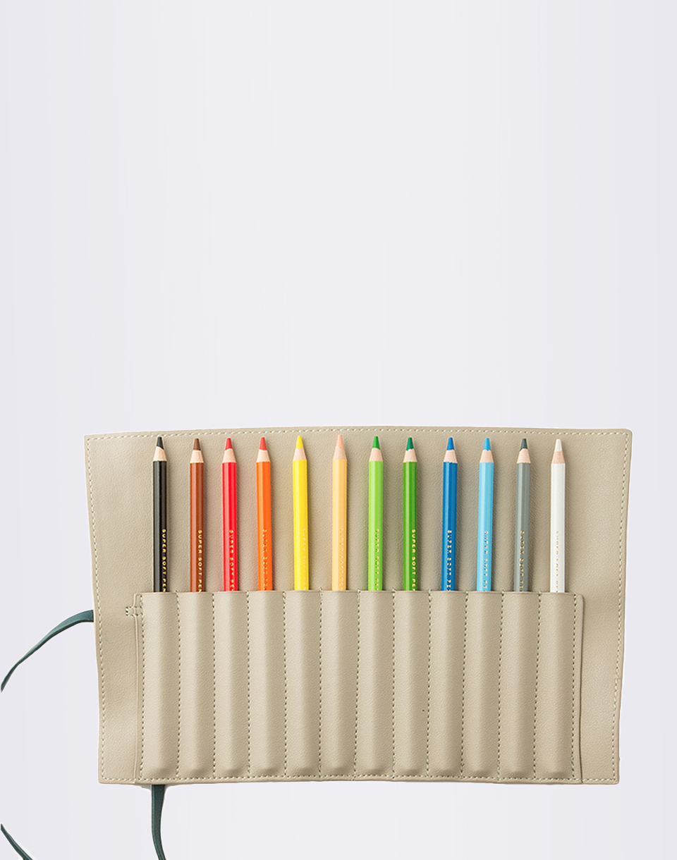 PrintWorks Pencil Roll Ink 12 Color Pencils Beige Green