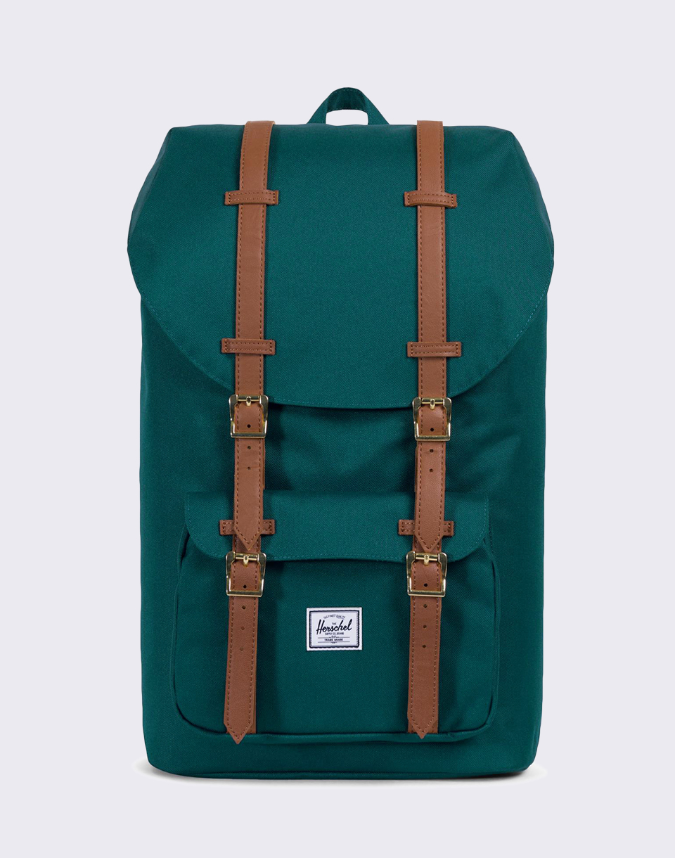 Herschel Supply Little America Deep Teal Tan Synthetic Leather