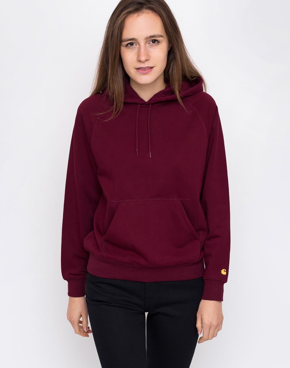 Carhartt WIP Hooded Chase Sweat Mulberry   Gold L