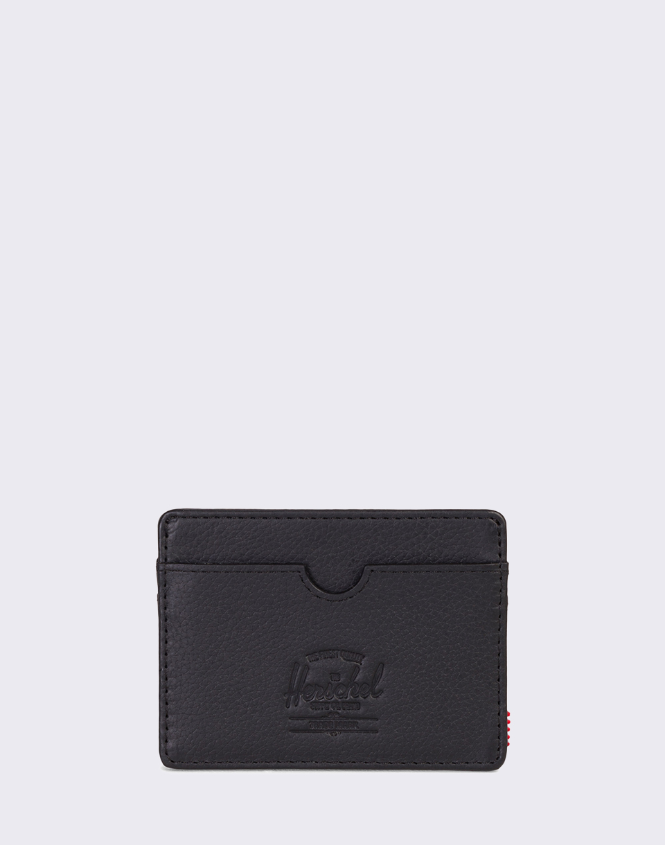 Herschel Supply Charlie Leather RFID Black Pebbled Leather