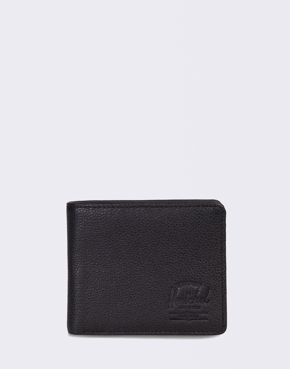 Herschel Supply Roy   Coin XL Leather RFID Black Pebbled Leather