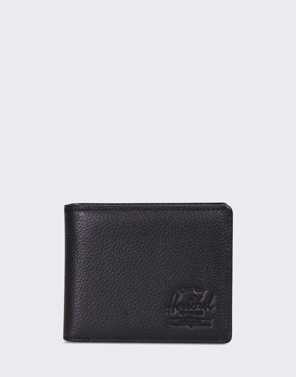 Herschel Supply Hank   Coin Leather RFID Black Pebbled Leather