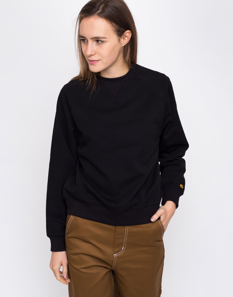 Carhartt WIP Chase Sweat Black   Gold L