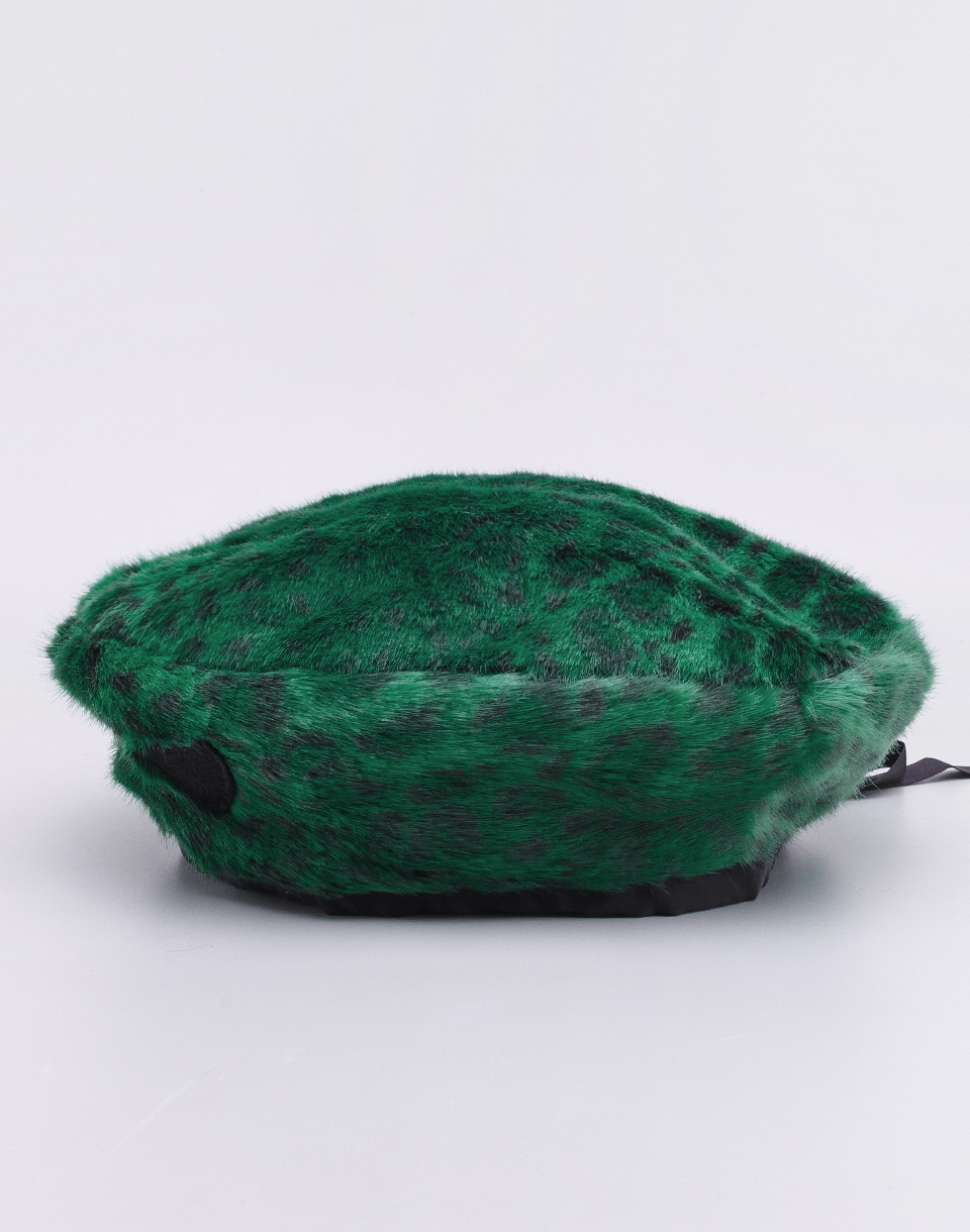 Lazy Oaf Green Leopard Fur Beret Green