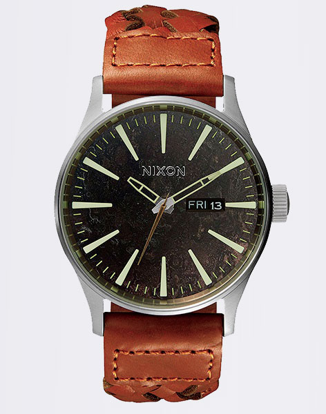 Nixon Sentry Leather darkcopper saddle woven