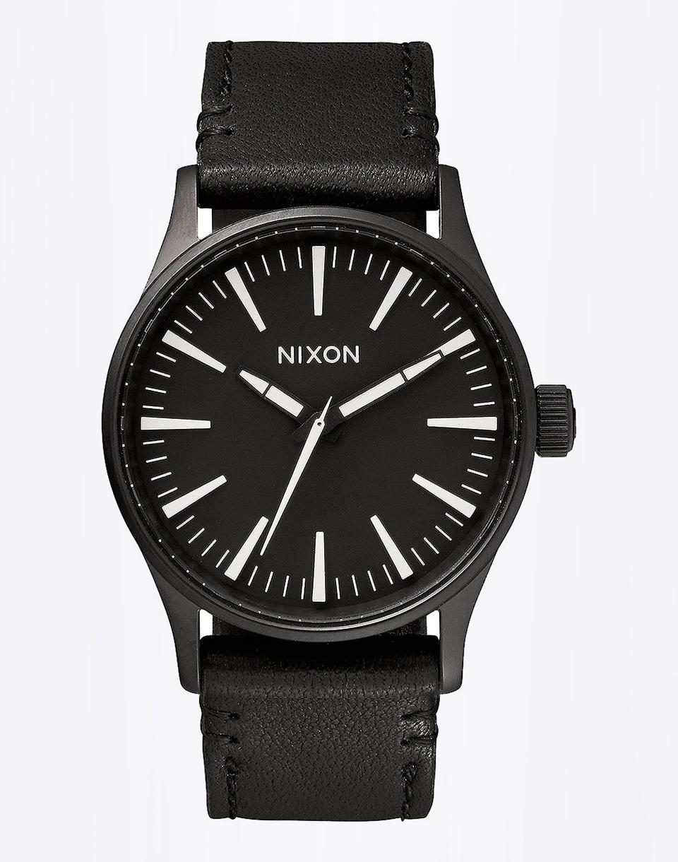 Hodinky Nixon Sentry 38 Leather Black/White + doprava zdarma + novinka