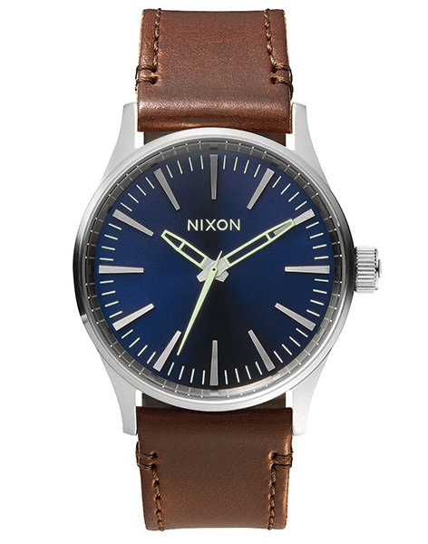 Hodinky Nixon Sentry 38 Leather Blue Brown + doprava zdarma