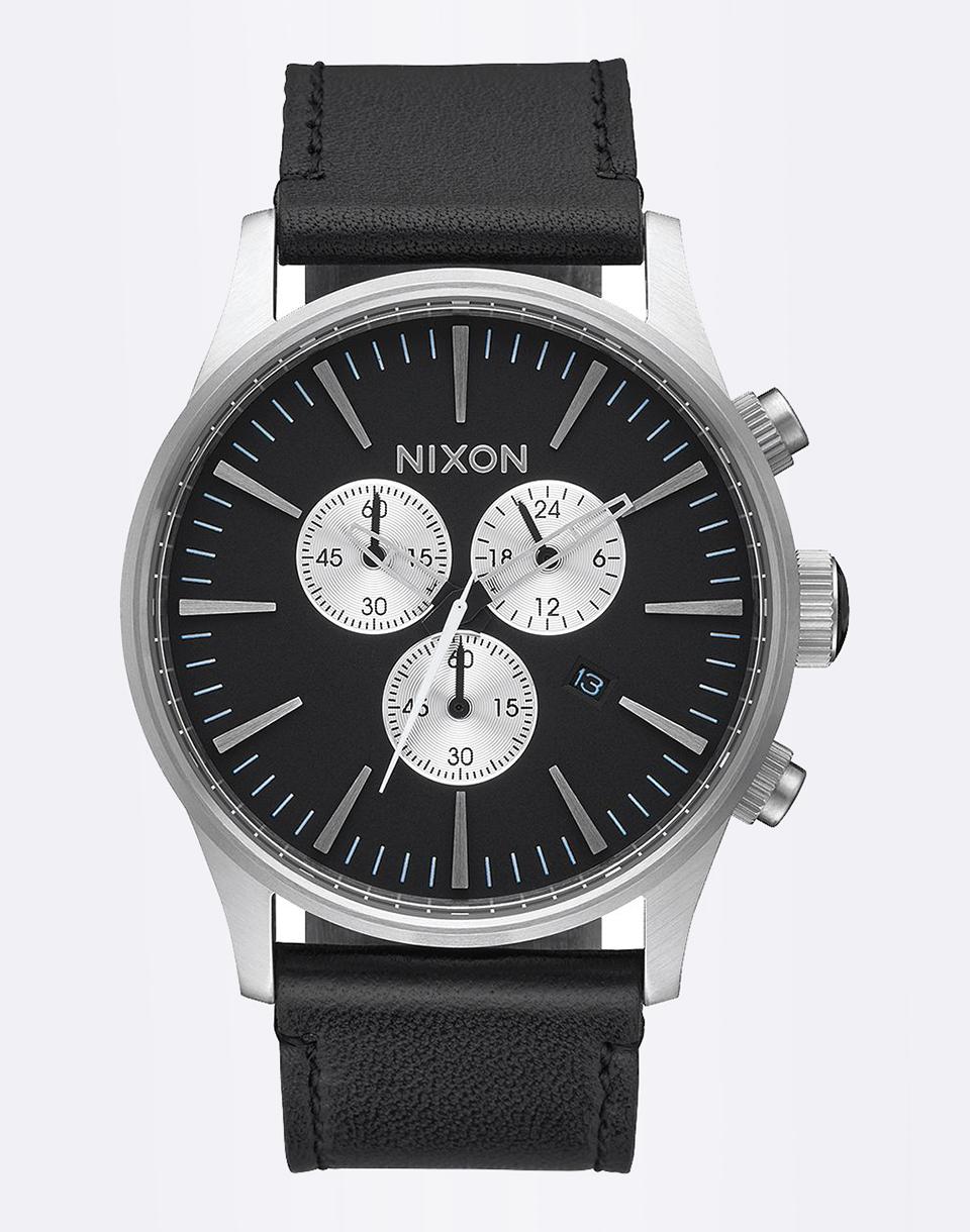 Hodinky Nixon Sentry Chrono Leather BLACK + doprava zdarma + novinka