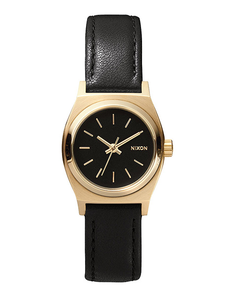 Nixon Small Time Teller Leather Black Gold