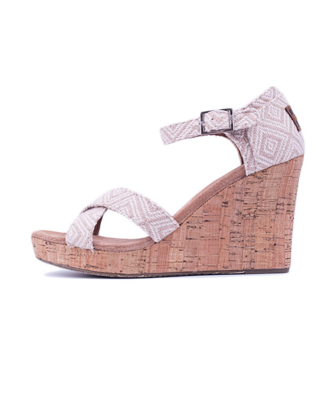 Sandály Toms Strappy Wedge natural woven diamond 38