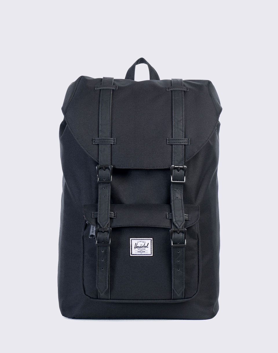 Herschel Supply Little America Mid Volume Black Black Synthetic Leather