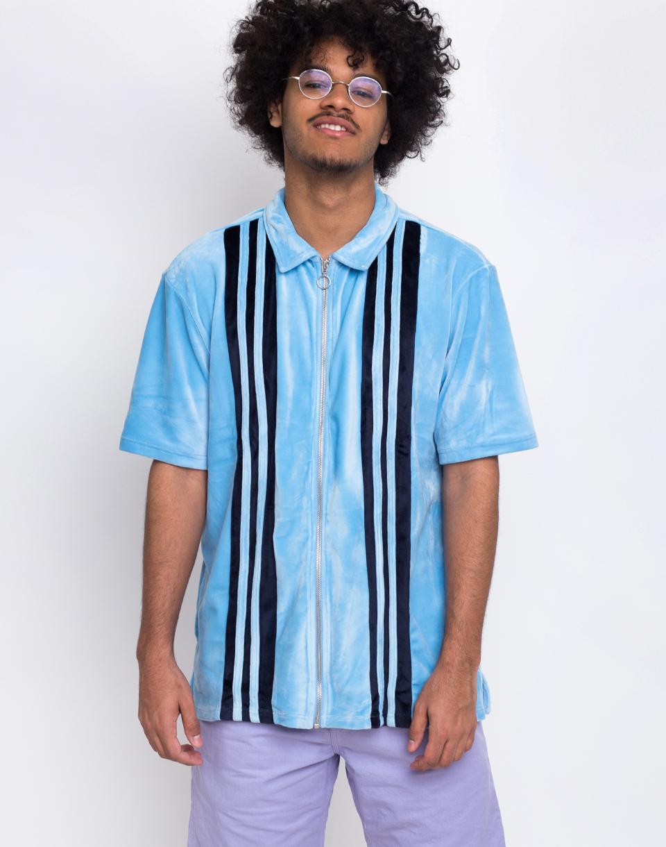 Lazy Oaf Velour Panel Zip Up Shirt Blue M