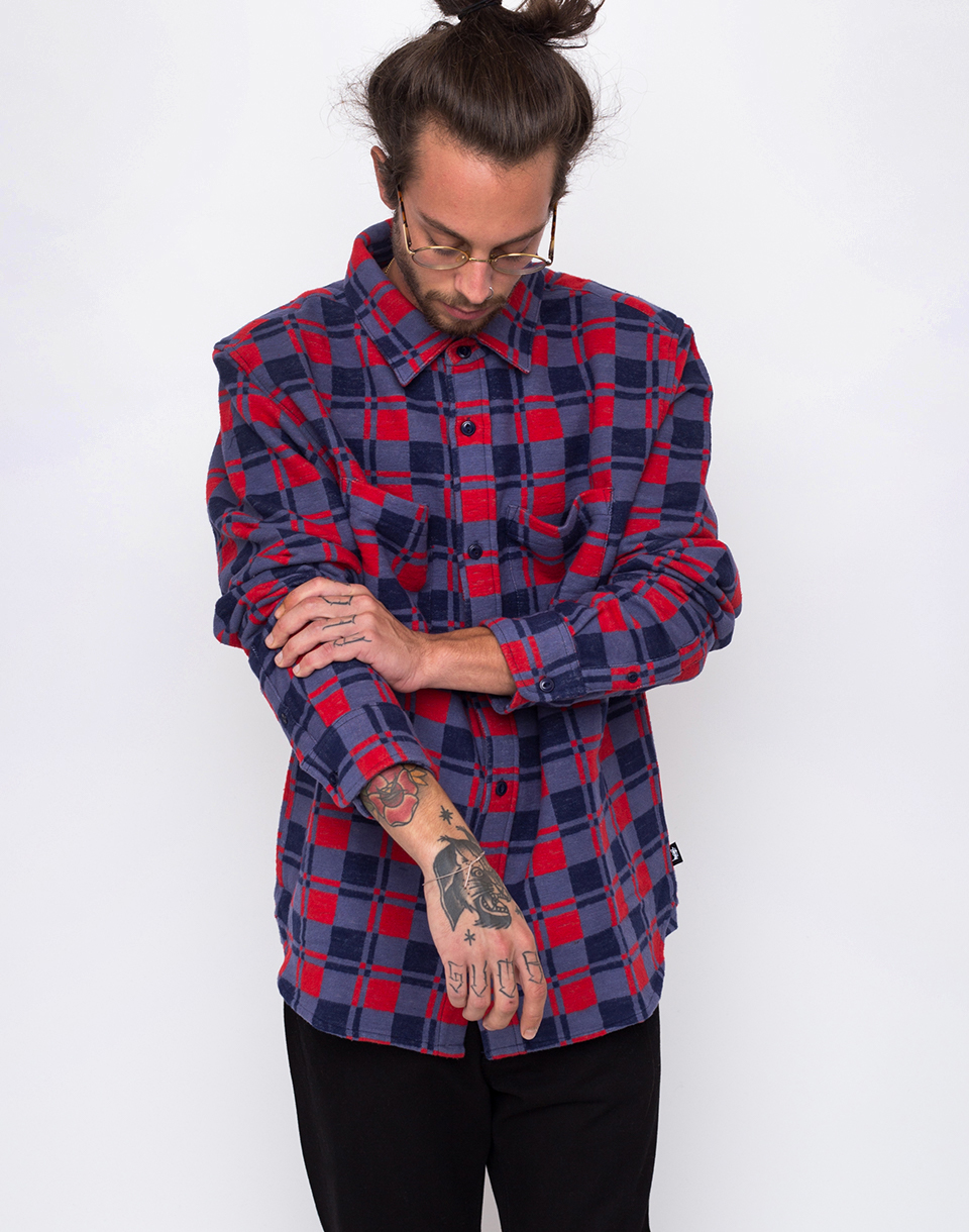 Stussy Brent Flannel navy L