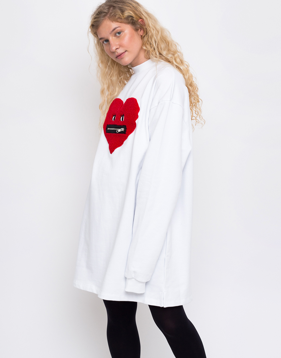Lazy Oaf Zippy Heart White M L