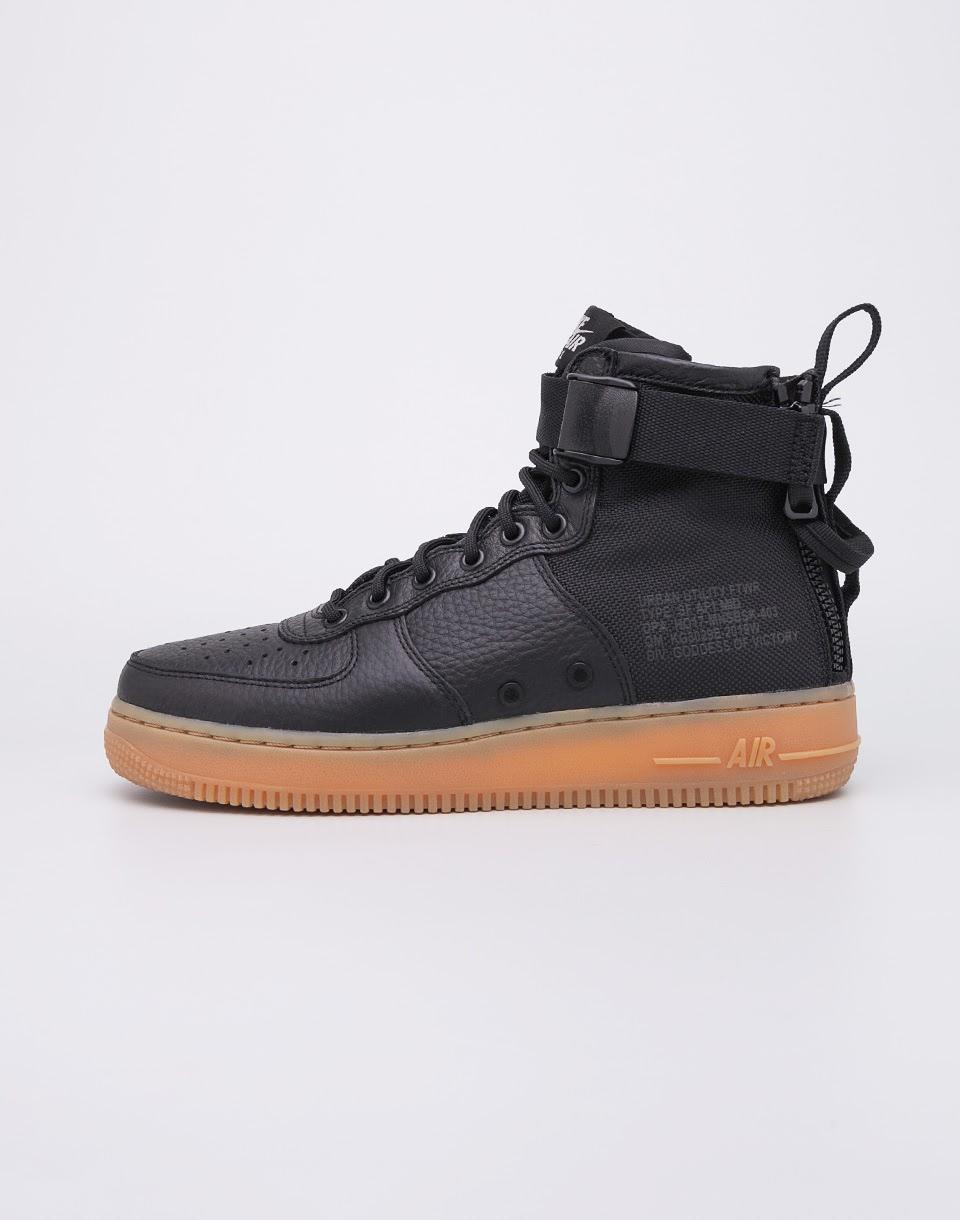Sneakers - tenisky Nike SF Air Force1 Mid Black/Black-Gum-Light Brown 44 + doprava zdarma