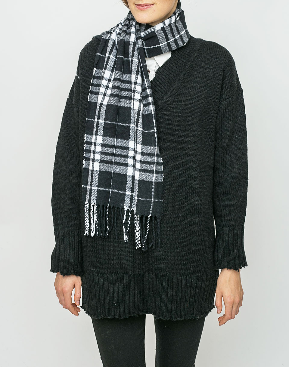 Cheap Monday City Scarf Check BLACK WHITE