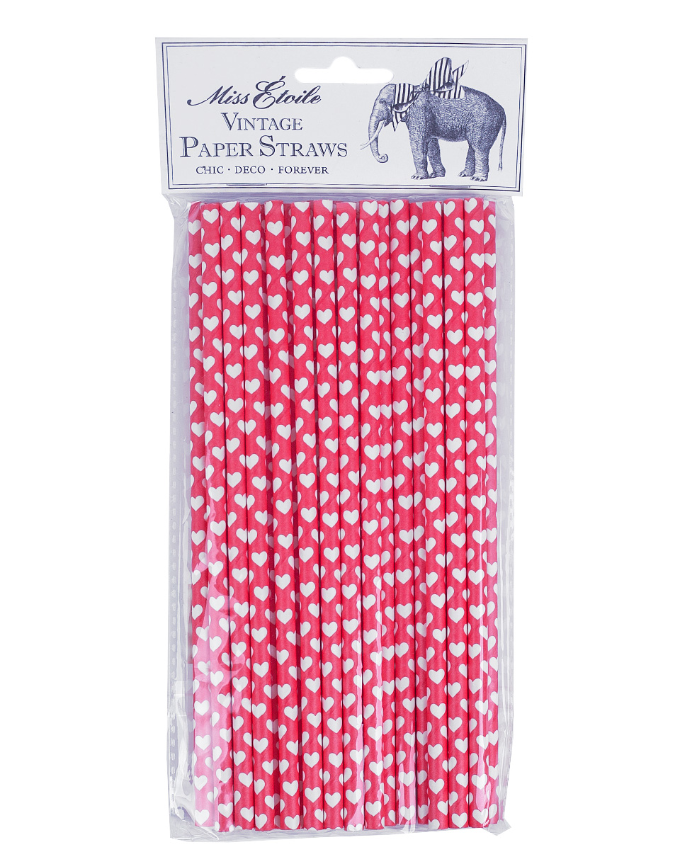 MISS ETOILE Paper Straw RED W/WHITE HEARTS