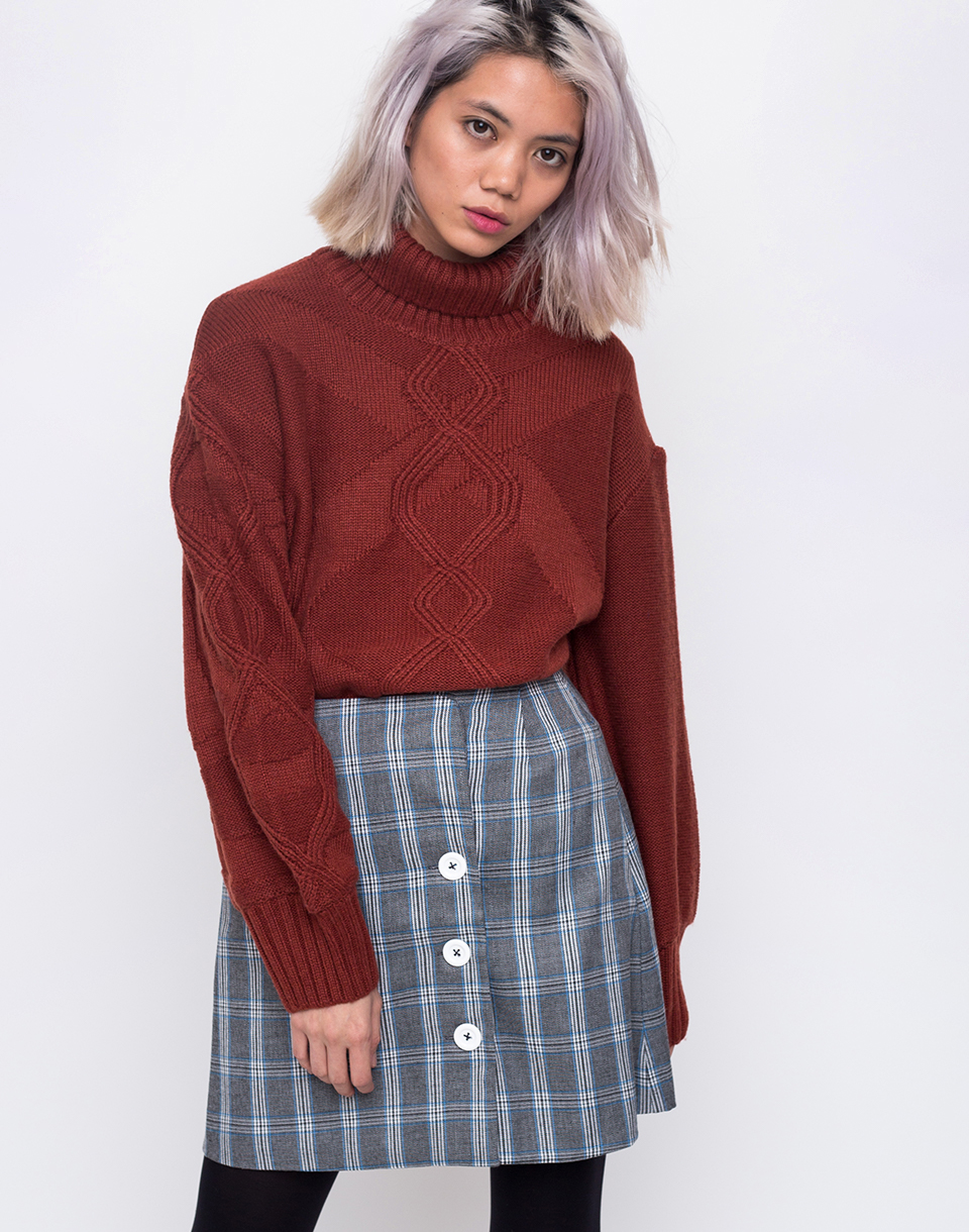 House of Sunny Turtleneck Cable Knit Jumper Reddish Brown 34