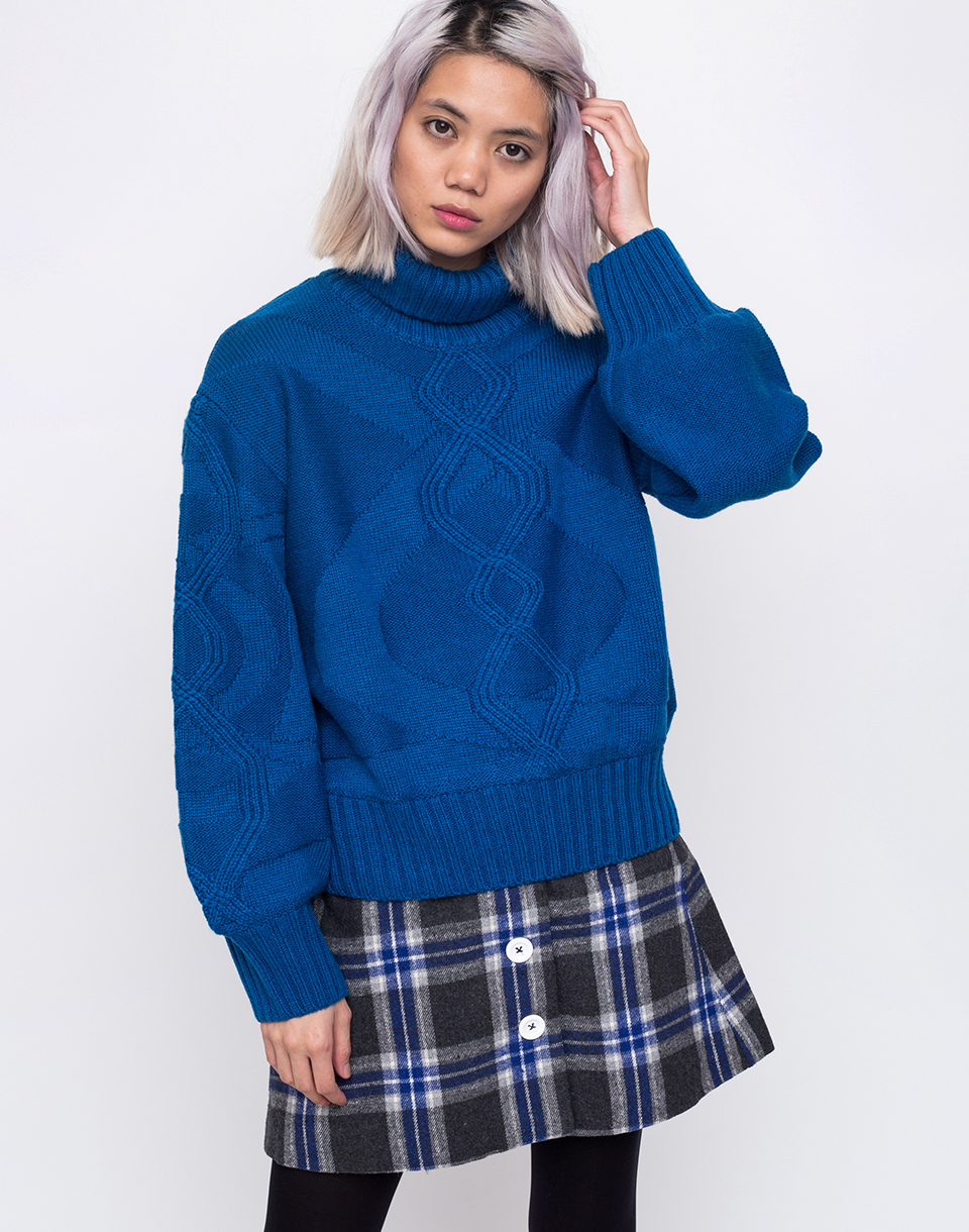 House of Sunny Turtleneck Cable Knit Jumper Intense Blue 34
