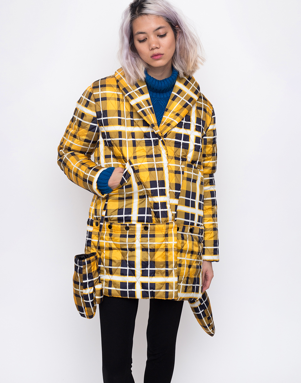 House of Sunny New Quilting Puffa Jacket Golden Plaid 36