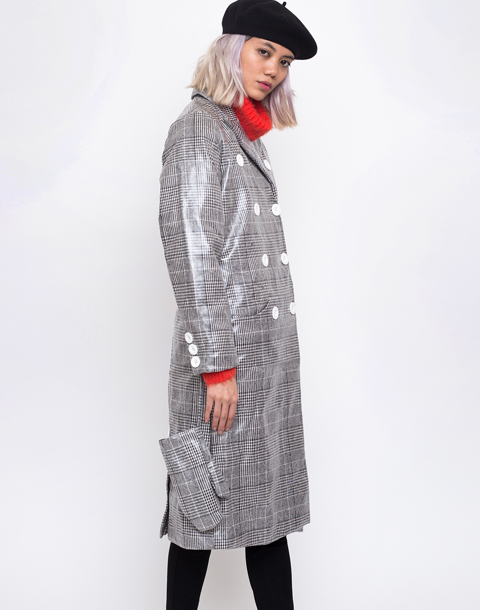 House of Sunny Long Tailored Nostalgia Trench Controlled Check 34