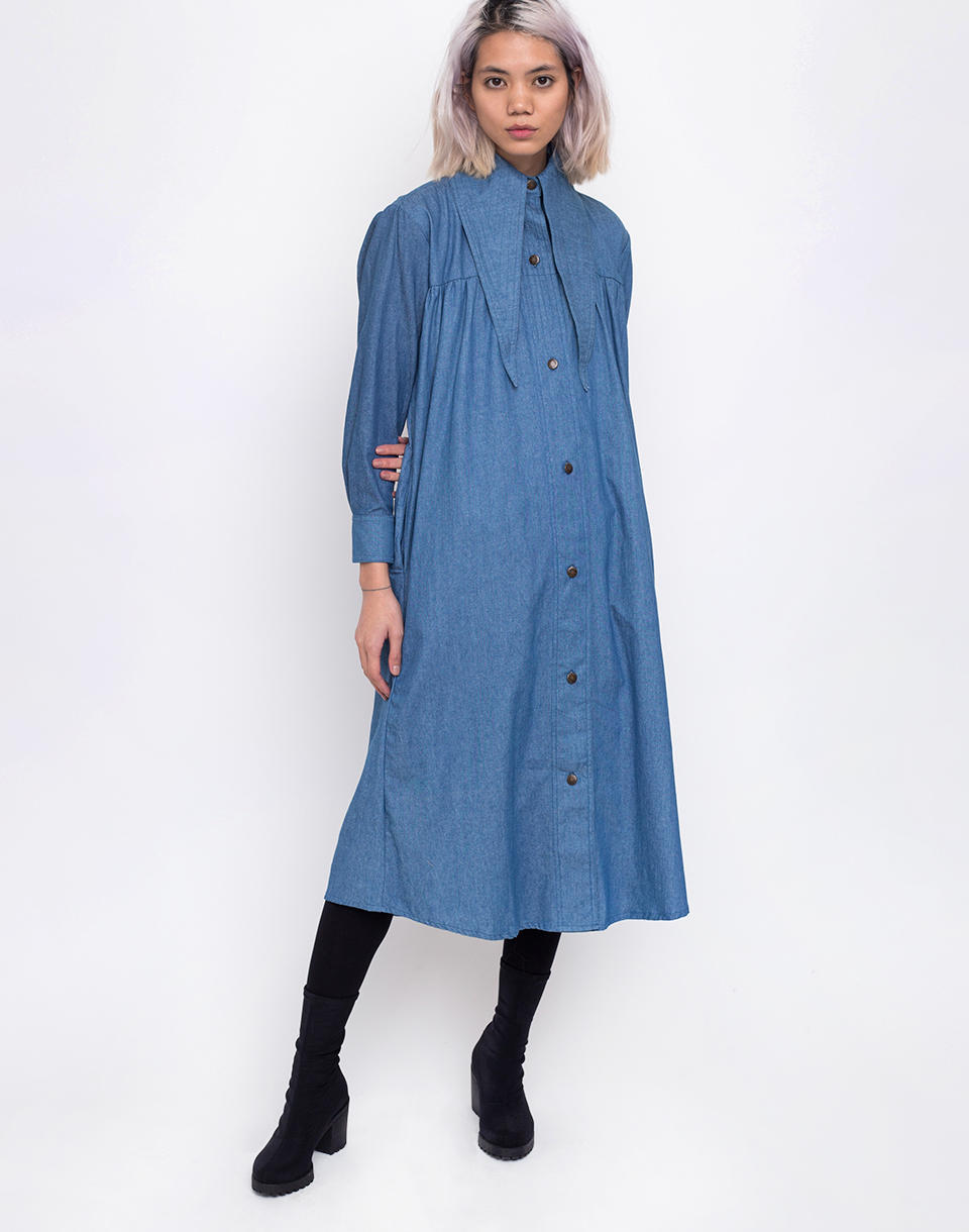 House of Sunny Western Full Length Shacket Authentic Blue 34