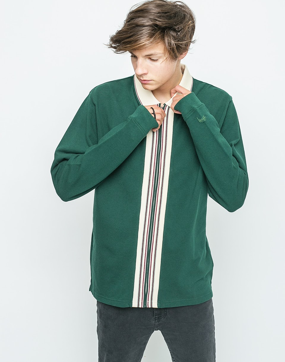 Mikina Stussy Full Zip Polo Forest L