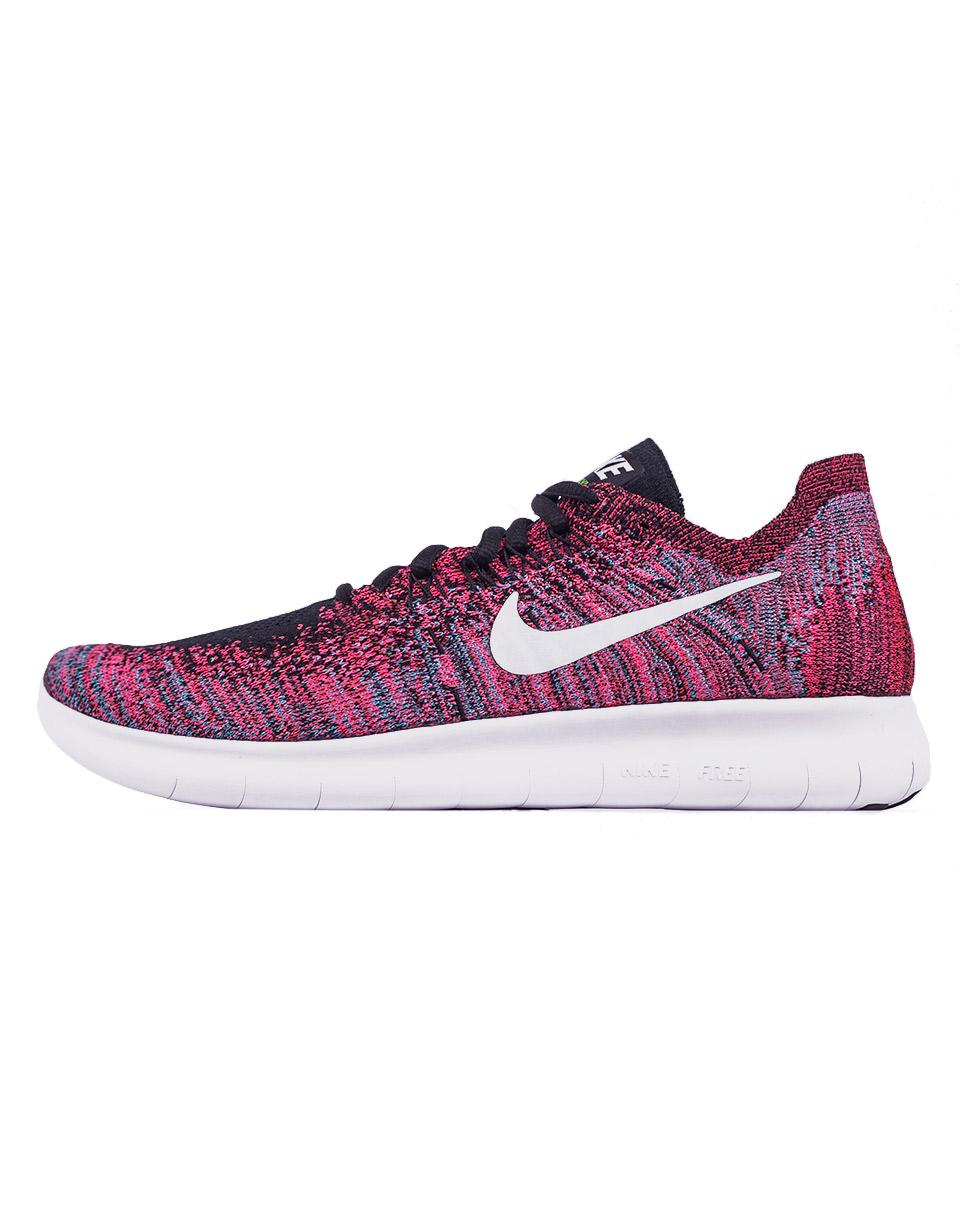 Sneakers - tenisky Nike Free RN Flyknit 2017 Black / White - Racer Pink - Gamma Blue 40 + doprava zdarma