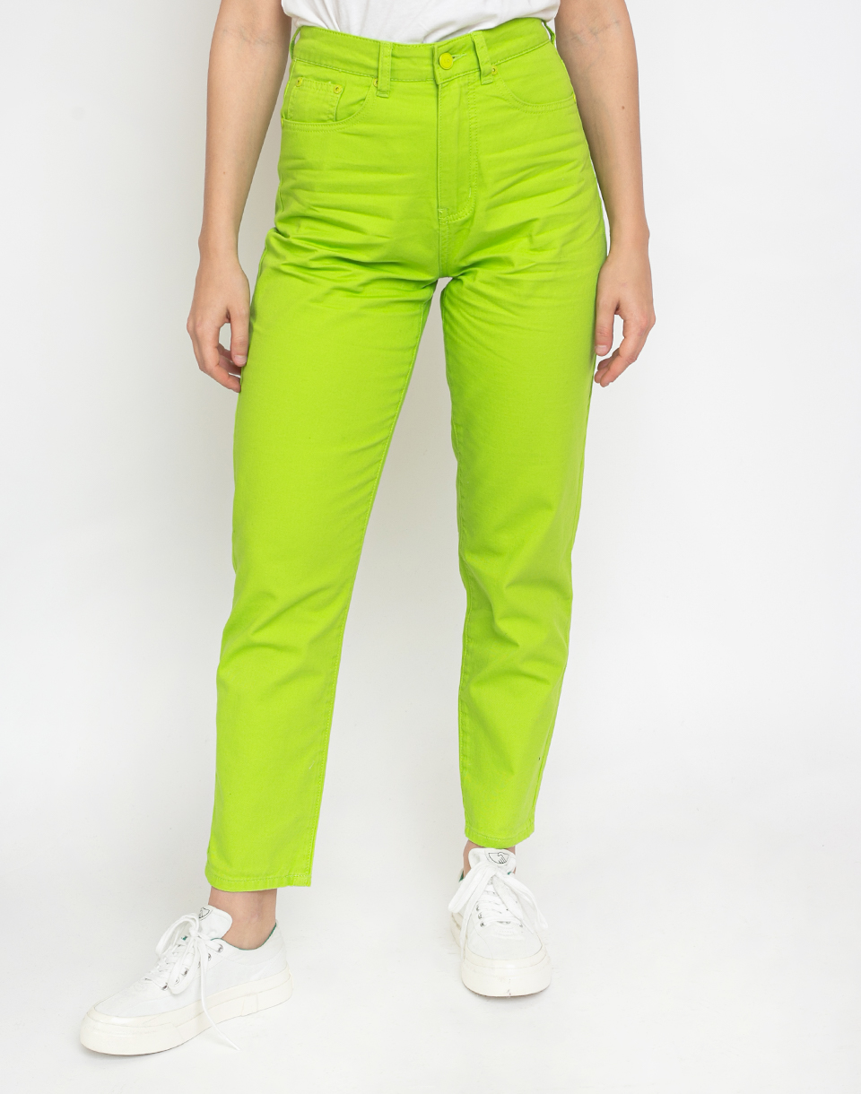 Lazy Oaf Lime Mom Jeans Green 28