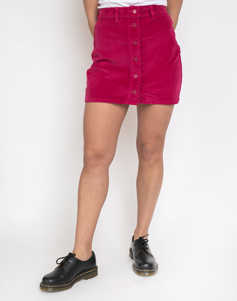 Lazy Oaf Pink Button Through Cord Skirt Pink M