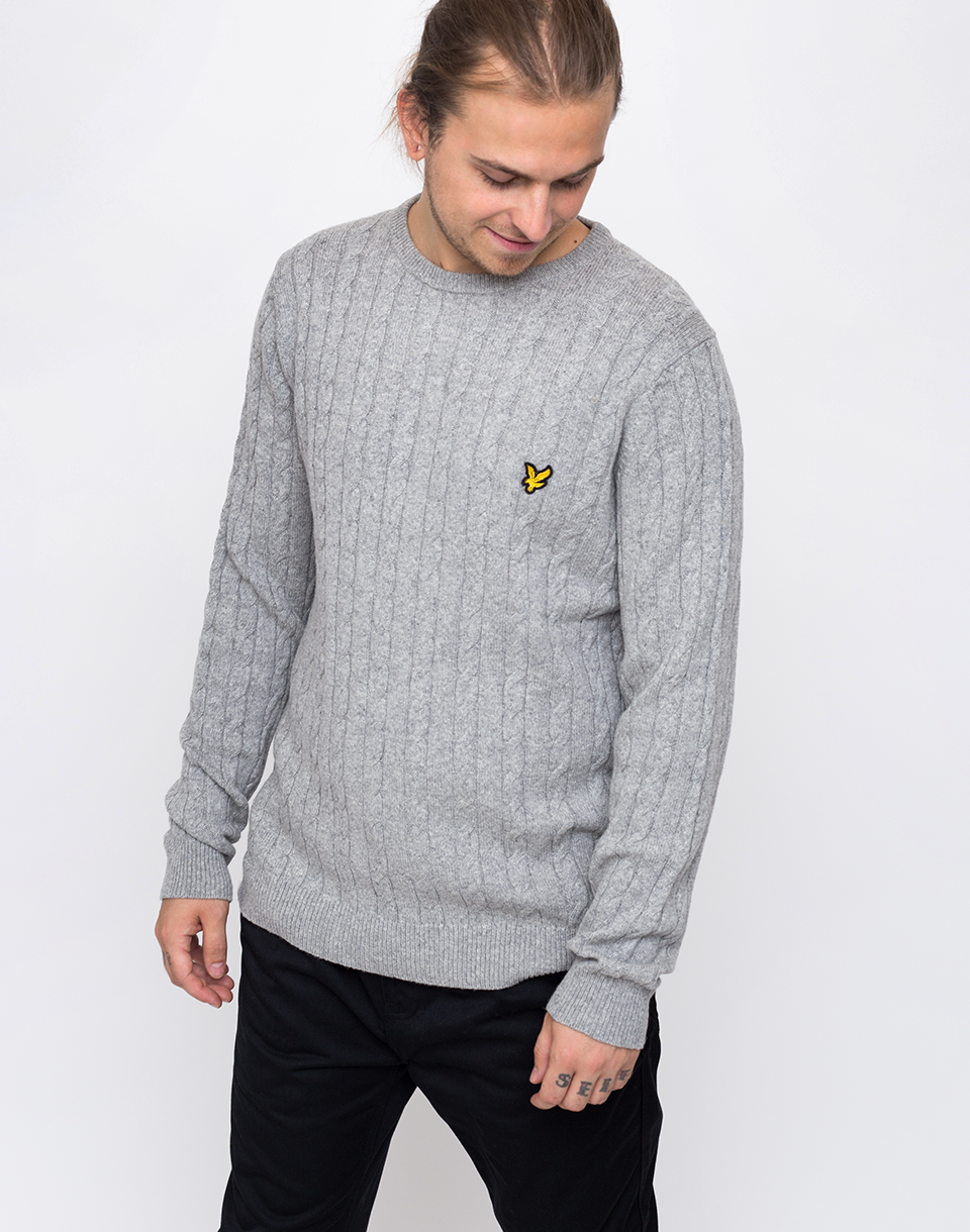 Lyle   Scott Cable D24 Light Grey Marl L