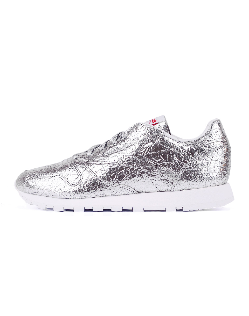 Reebok Classic Leather HD Silver Met   Snowy Grey   Primal Red   White 38 5