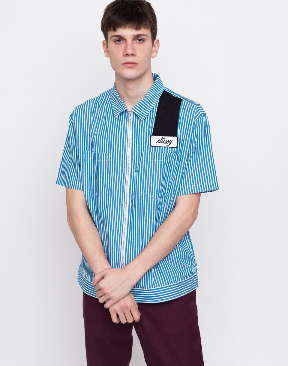 Stüssy Zip Up Work Shirt Blue L