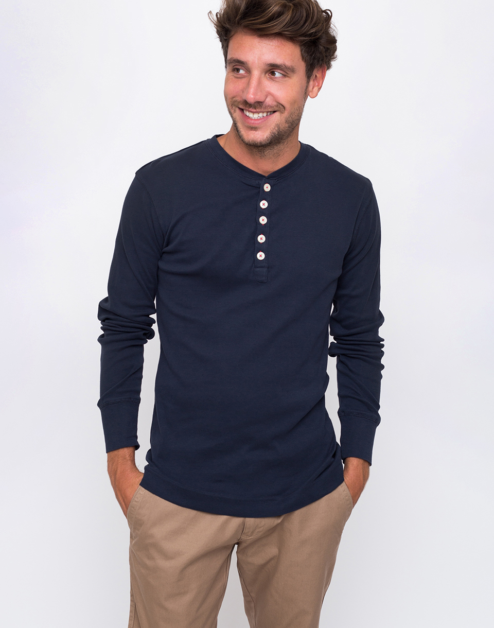 Knowledge Cotton Rib Henley 1001 Total Eclipse L